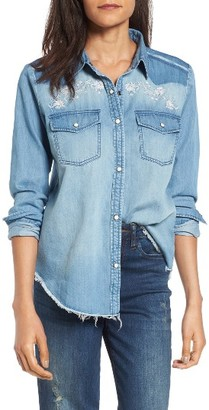 Women's Sun & Shadow Embroidered Chambray Shirt $55 thestylecure.com