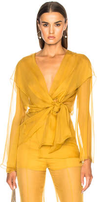 Alberta Ferretti Long Sleeve Wrap Blouse