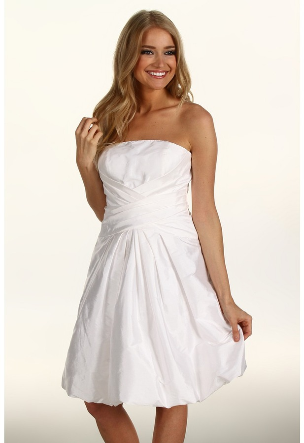 Eliza J Taffeta Strapless w/Bubble Hem Dress (Off White) - Apparel