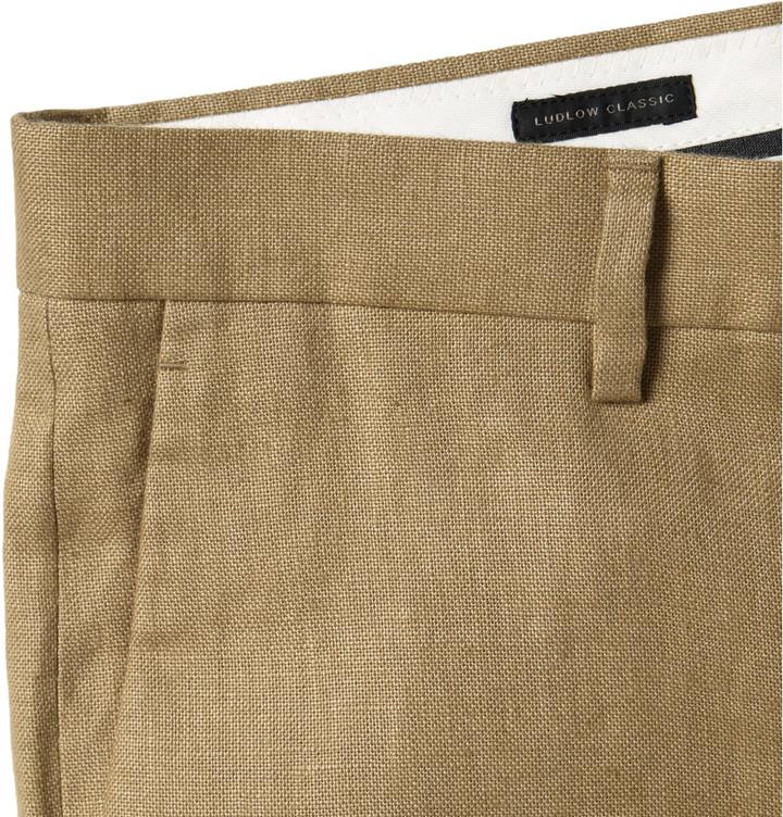 J.Crew Tan Ludlow Linen Suit Trousers