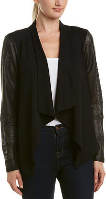 Michael Stars Draped Leather-Trim Blazer