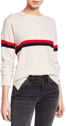 Sundry Striped Wool-Cashmere Crewneck Pullover Sweater