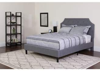 BEIGE Flash Furniture Brighton Tufted Upholstered King Size Platform Bed in Light Gray Fabric