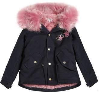 Little Marc Jacobs Cotton Gabardine Parka W/ Faux Fur