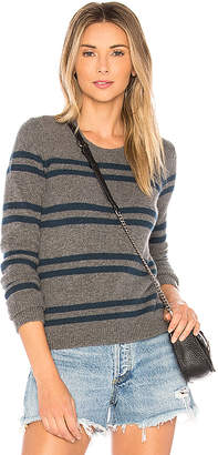 James Perse Cashmere Striped Shrunken Crew Sweater