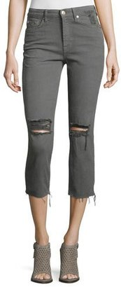 7 For All Mankind Distressed Cropped Jeans W/Raw Hem, Green $178 thestylecure.com