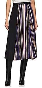 AKIRA NAKA Women's Leather-Trimmed Striped Pleated Skirt - Purple