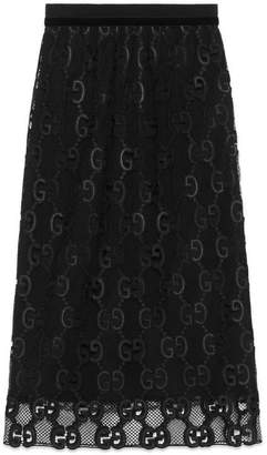 Gucci GG leather macramé skirt