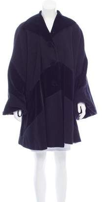 Fendi Velvet-Accented Wool Coat