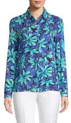 Michael Kors Point Collar Floral Silk Shirt