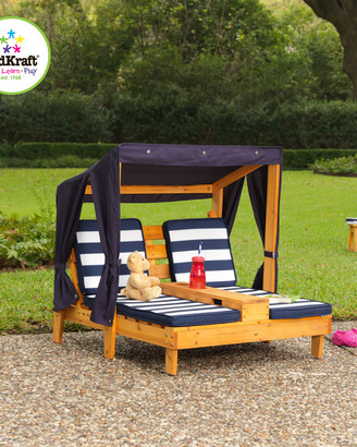 Kid Kraft Striped Double Chaise Lounge With Cupholders
