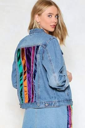 Nasty Gal Somewhere Over the Rainbow Denim Jacket