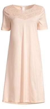 Hanro Malene Short Sleeve Crochet Gown