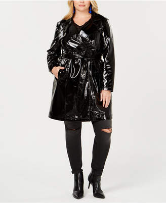 INC International Concepts I.n.c. Plus Size Patent Trench Coat, Created for Macy's