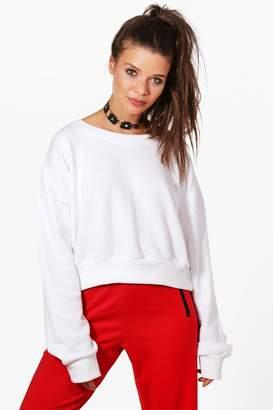 boohoo Oversized Slouchy Crop Sweatshirt