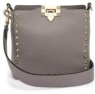 Valentino Rockstud Grained Leather Cross Body Bag - Womens - Light Grey