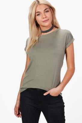 boohoo Basic Boxy Turn Cuff T-Shirt