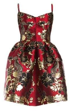 Dolce & Gabbana Dolce& Gabbana Dolce& Gabbana Women's Sleeveless Jacquard Full Skirt Dress - Red Jacquard - Size 46 (10)