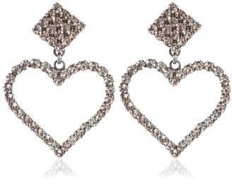 Crystal Heart Clip-On Earrings