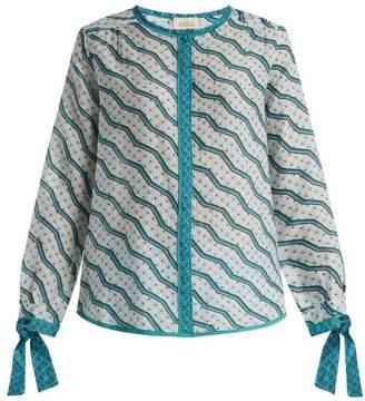 Talitha - Printed Silk And Cotton Blend Shirt - Womens - Green Print
