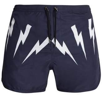 Neil Barrett Lightning Bolt Print Swim Shorts - Mens - Navy Multi