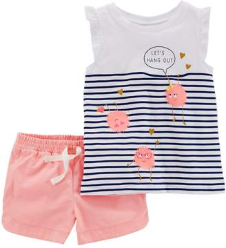 """Carter's Girls 4-8 Let's Hang Out"""" Monster Striped Top & Shorts Set"""
