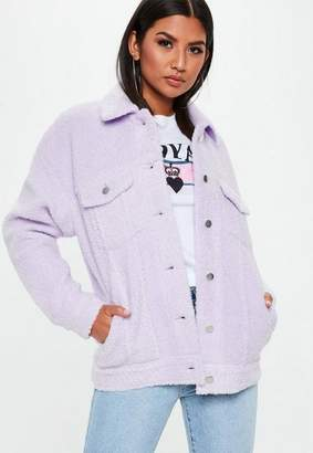 Missguided Lilac Oversized Borg Trucker Teddy Jacket