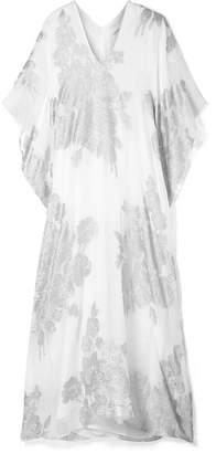 Marie France Van Damme - Metallic Silk-blend Jacquard Kaftan - White