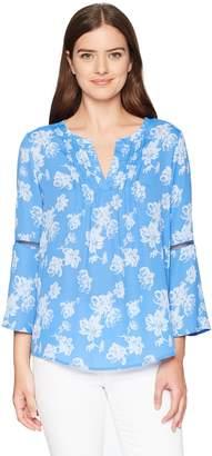 Chaus Women's Bell SLV Floral Breeze Pintuck Blouse