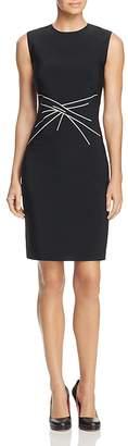 Paule Ka Crisscross Jacquard Pattern Sheath Dress