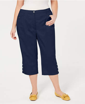 Karen Scott Plus Size Button-Cuff Capri Pants