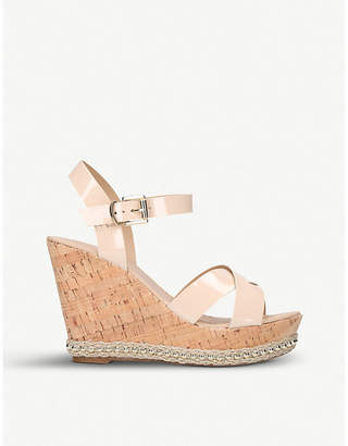 40c612a3fbf8 Nude Patent Wedge Shoes - ShopStyle