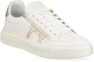 Salvatore Ferragamo Men's Borg Low-Top Leather Sneakers