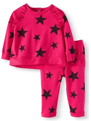Miniville Ruffle Sleeve Hi-Lo Sweatshirt & Roll Cuff French Terry Jogger Pants, 2pc Outfit Set (Baby Girls)