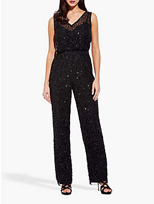 Adrianna Papell Beaded V-Neck Jumpsuit, Black