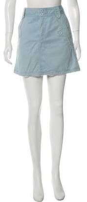Marc Jacobs Frayed-Trimmed Mini Skirt Blue Frayed-Trimmed Mini Skirt