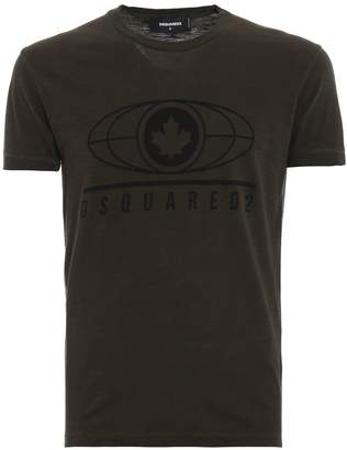 DSQUARED2 Logo Print Dark Green Cotton Jersey T-shirt