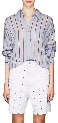 Etoile Isabel Marant Women's Ycao Striped Cotton-Blend Voile Shirt - Lt. Blue