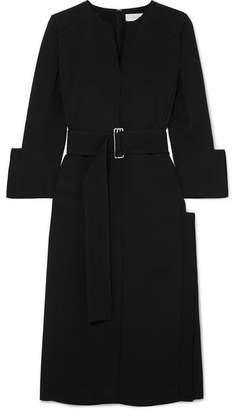 Victoria Beckham Belted Crepe Midi Dress - Black