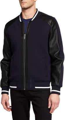 Karl Lagerfeld Paris Men's Bomber Jacket w/ Faux-Leather Sleeves
