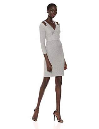 Calvin Klein Women's Three Quarter Sleeve Cocktail Dress with Shoulder Cut Outs