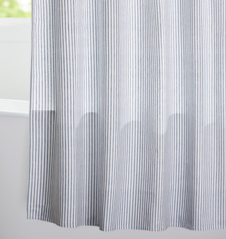 Rejuvenation Blue Ticking Cotton Duck Cloth Shower Curtain