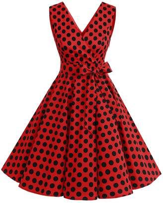 Dresstells reg; Vintage 1950s Solid Color V Neck with Bow Tie Retro Swing Dress Navy White Dot S