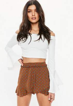 Missguided Brown Printed Pleated Hem Shorts