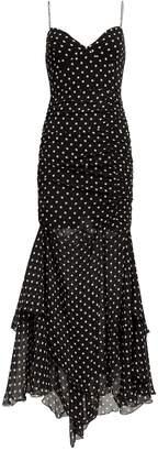 Nicholas Polka Dot Ruched Maxi Dress