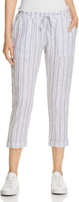 Three Dots Striped Linen Crop Pants