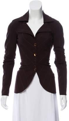 Akris Wool Pinstripe Blazer Brown Wool Pinstripe Blazer