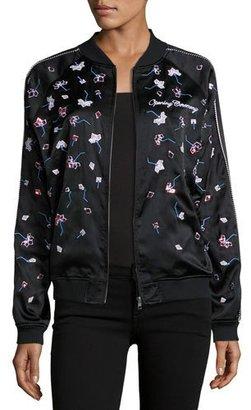 Opening Ceremony Embellished Silk Bomber Jacket, Black $550 thestylecure.com