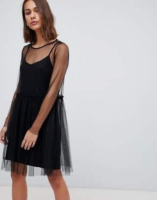 Minimum mesh overlayer skater dress