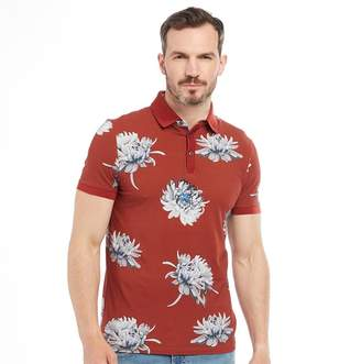 Ted Baker Mens Filter Large Floral Print Short Sleeve Polo Red